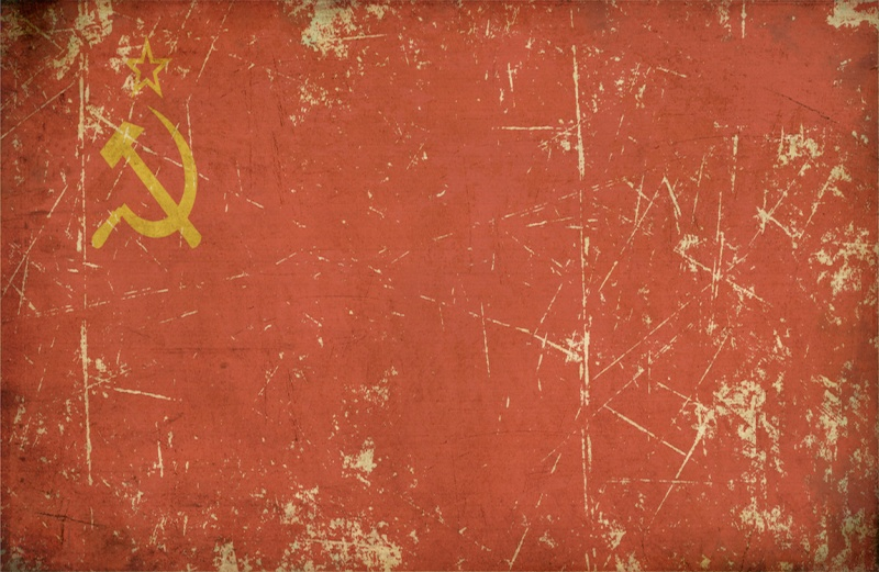 Illustration of an rusty, grunge, aged Soviet Union flag on the official aspect retio.